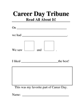 Career Day Writing Activity
