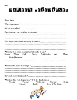 Career Detectives Career Research Worksheet By Samantha Marie Tpt