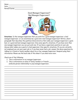Career Education- Good Manager? Bad Manager? Writing Activity