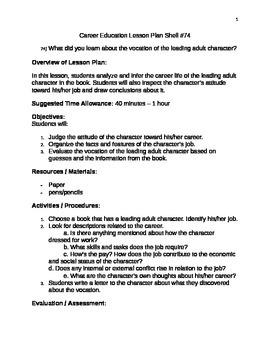 Career Education Lesson Plan Shell #74