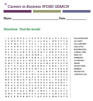 Career Essay Instructions and 4 Career word searches (BUNDLE)