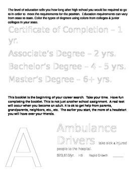 Career Exploration Work Book Grades 4-6