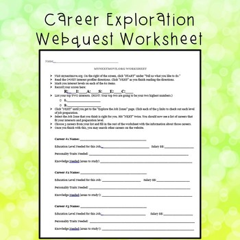 Worksheets Career Worksheet career exploration worksheet by the happy school counselor worksheet