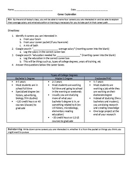 Terrible image pertaining to career exploration worksheets printable
