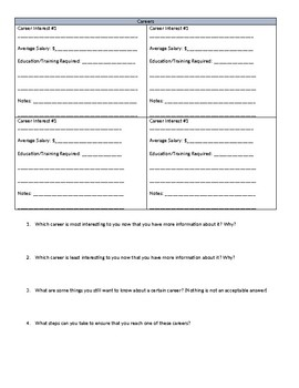 Career Exploration Worksheet and Website by Ms Penguin ...