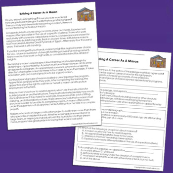 Career Exploration Reading Comprehension Passages: Guided Reading Levels O &  P