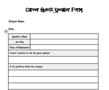 Career Guest Speaker Form