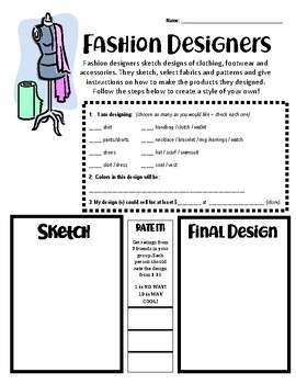 Career Lesson Fashion Designers By Plan Like A Boss Tpt