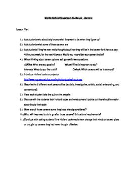 Career Lesson Plan for Middle Schoolers