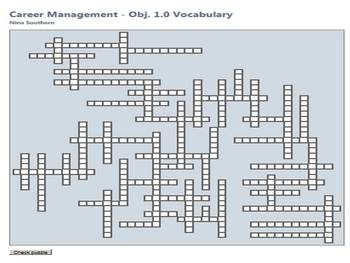 Career Management:  Objective 1.0 Interactive Vocabulary Crossword Puzzle
