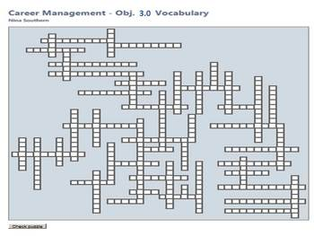 Career Management:  Objective 3.0 Interactive Vocabulary Crossword Puzzle