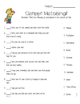 Career Matching Worksheet