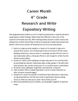 Career Month Research and Expository Essay