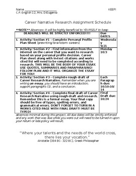 Career Narrative Research Paper Schedule