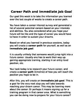 Career Path and Immediate Job Goal