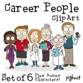 Career People Clip Art -- Teacher, Doctor, Librarian, Coach, Business Woman