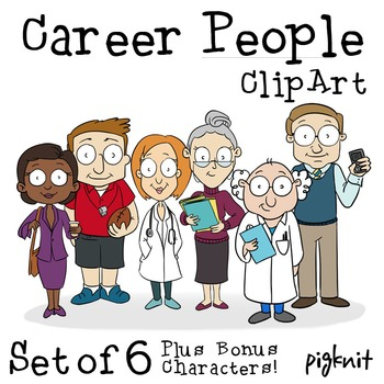 Career People Clip Art -- Teacher, Doctor, Librarian, Coach, Business Woman