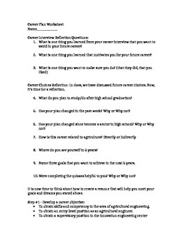 Career Plan Worksheet