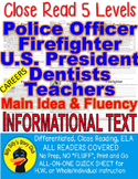 Police Officer Firefighter President Dentist Teacher 5 Passages 5 levels