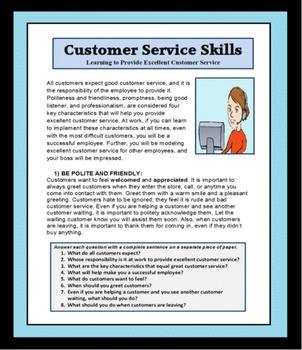 Career Readiness, CUSTOMER SERVICE SKILLS, vocational, career lessons