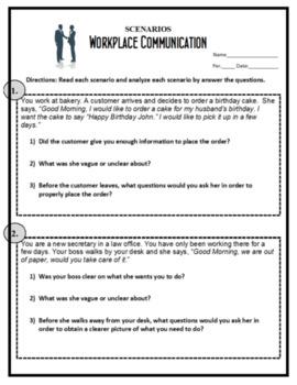 Sexual harassment in the workplace scenarios worksheet