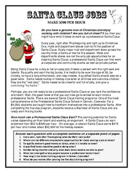 Career Readiness, SANTA CLAUS JOBS, Holiday season, Christmas, Careers