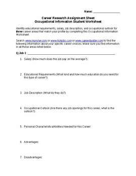 Career Research Assignment Sheet Occupational Information Student Worksheet