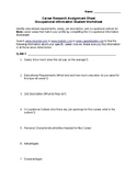 Career Research Assignment Sheet Occupational Information