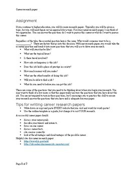 Career Research Paper Assignment