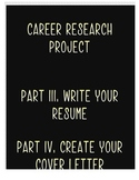 Career Research Project Part III & IV :Cover Letter & Resume