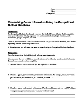 Career Research Using the Occupational Outlook Handbook