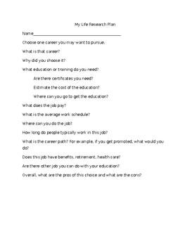 Career Research Worksheet by Donovan | Teachers Pay Teachers