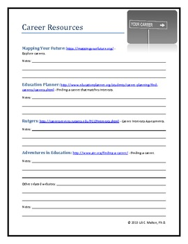 Career Resource Worksheet