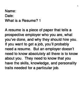 Career Resume Worksheets