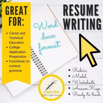 Career Resume Writing Handouts, Mini-Lessons, Rubrics