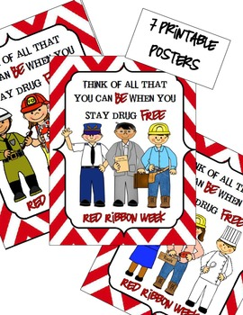 Career Themed Red Ribbon Week Posters and Activities