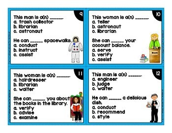 Vocabulary Task Cards Career and Job Theme