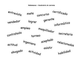career and résumé vocabulary matamoscas game by authentic spanish