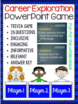 Career Exploration (Trivia Game) Resume, Cover Letters, Jobs & Important Terms