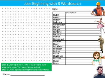 Careers Beginning with B Wordsearch Sheet Starter Activity Keywords Jobs