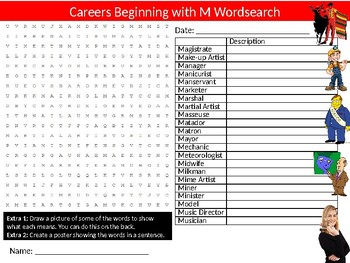 Careers Beginning with M Wordsearch Sheet Starter Activity Keywords Jobs