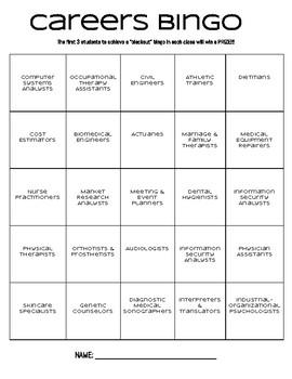 Careers Bingo