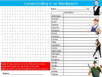 Careers Ending in ER Wordsearch Sheet Starter Activity Keywords Jobs