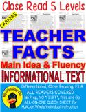 Careers: Teacher FACTS Main Idea Close Read 5 level passages Info Text+Freebie