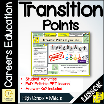 Careers Transition Points and Life  Lesson and Activities