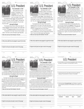 Careers: U.S. President FACTS Main Idea Close Read 5 level passages Info Text