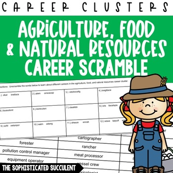 Careers Word Scramble - Ag, Food and Natural Resources Career Cluster ***Free***