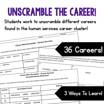Careers Word Scramble - Human Services Career Cluster
