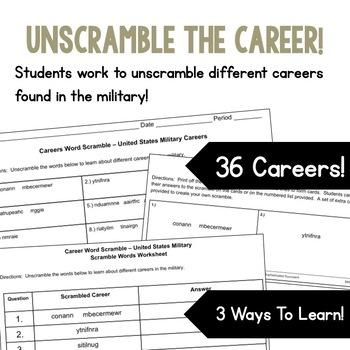 Careers Word Scramble - United States Military