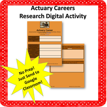 Careers in Actuary-Digital Research Activity NO PREP!
